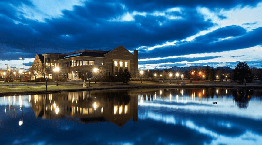 Evening photo of Mamie Doud Library in Broomfield